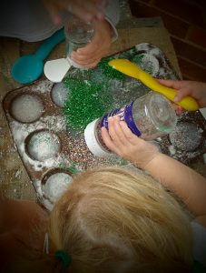 Now, no foam cake would be complete without a generous sprinkle of glitter...(creativity, exploring texture, using our senses)